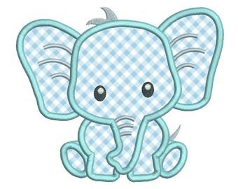 Baby Elephant Applique Embroidery Design, Cute Elephant Machine Embroidery, 4x4, 5x7, Baby Embroidery, Instant Download Design No: A545-1