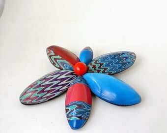 Contemporary gift for her. Flower Brooch in Blue/Red.