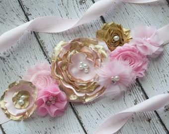 Flower Sash, pink gold Sash ,#2, flower Belt, maternity sash, flower girl sash, baby shower sash