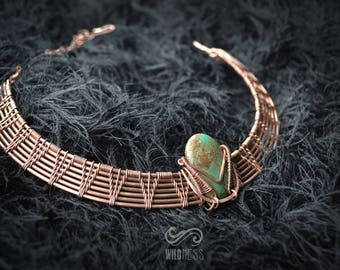 Turquoise Egyptian collar - wire wrapping -