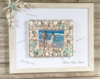 Beach Wedding Guest Book Alternative, Guest Book Picture Frame, Beach Wedding Photo Frame, Seashell Picture Frame, Starfish Guest Pen