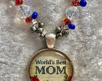 Worlds greatest Mom bead woven necklace