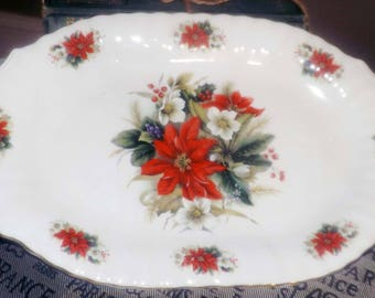 Vintage (c.1970s) Royale Garden Potteries England lugged | handled oval sandwich | oval platter. Christmas poinsettias, greenery, gold edge.