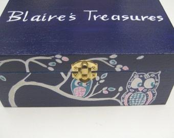 keepsake,treasure box, owl box purple, pink, turquoise, personalized gift.children's memory box, kid's box, baby memory box, new baby gift,