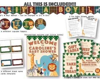 Jungle Themed Baby Shower Party Package/Decoration/Customizable Sign/Games/Print At Home/