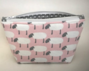 """Knitting Project Bag - NEW!  """"White Sheep on Pink Knit Fabric"""" Zippered Large Notions Wedge Bag;  PERFECT for a Swap Package! (C.5)"""