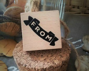 "Wooden rubber stamp ""From"" - sold individually"