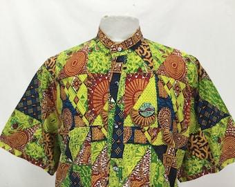 African Print Grandad Collar Shirt