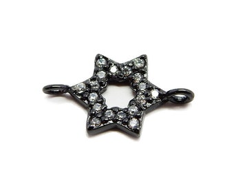 Petite Oxidized Sterling Silver Star Double Bail Pendant with Rhinestone Pave Accents  (LA-160)