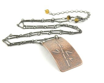Bamboo necklace, embossed copper pendant with sterling silver chain, ready to ship.