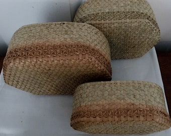 Nest of 3 Vintage Covered Baskets for Stacking or Storing