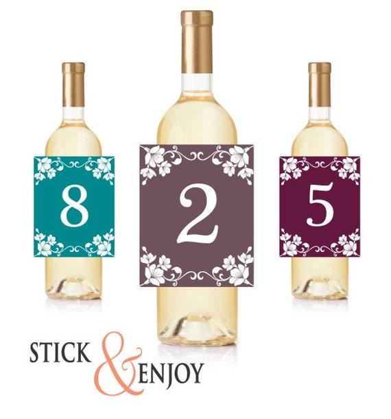 Wine Bottle Labels Table Numbers Self Adhesive Waterproof