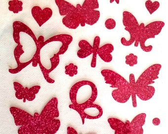 PINK FUCSHIA WEDDING CHRISTENING HOLIDAYS SCRAPBOOKING CARDMAKING 45 RUB - ONS GLITTER STICKER BUTTERFLY DECAL SET