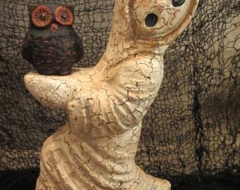 Paper mache Halloween Lg Ghost w/Owl