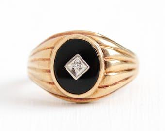 Vintage Onyx Ring - 10k Rosy Yellow Gold Black Gemstone & Diamond - Mid Century 1940s Size 11 Men's Women's Statement Jewelry , Baden Foss