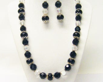 Round Black Glass Beads w/Crystal/Jet Faceted Glass Bead Necklace/Earrings Set