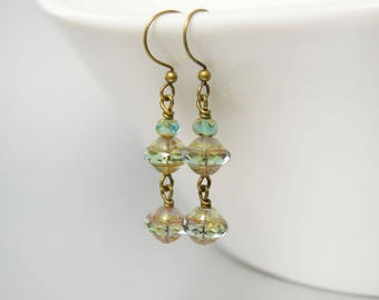 Soft Long Green Drop Earrings Boho Jewelry Gypsy Style Green Patina Aqua Drop Earrings