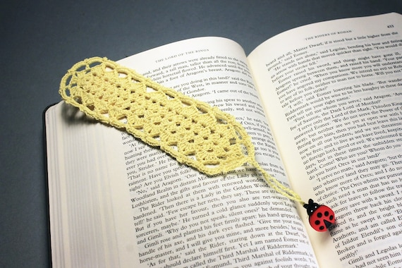 Light Yellow Bookmark, Ladybug, Crochet, 9 Inches, Book Lovers Gift, Handmade, Readers Gift, Teacher's Gift