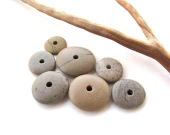 River Stone Cairn Mediterranean Beach Stone Stacks Pebble Rock Donut Beads River Stone Spacers EARTHY WHEELS 12-20 mm