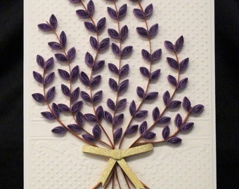Lavender Pink Red Bouquet - Handmade Paper Greeting Cards