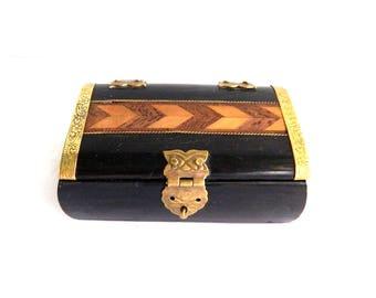 "Vintage Small Black Wood Brass Snuff Stash Box - Brass Hinges and Latch - Trinket Gift - Home Decor Dresser - 3 3/4"" L x 2 1/2"" W x 1 1/2"" H"