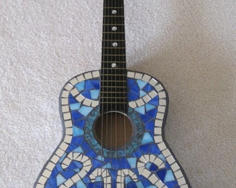 Mosaic Guitar in Shades of Dark and Light Blue in Stained Glass and Mirror Squares