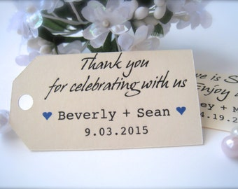 Favor tags, wedding favor tags, engagement tags, thank you favor tags, custom tags, wedding decor, bridal shower tags - 30 count