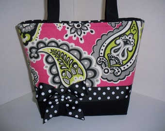Black Pink Paisley Polka Dots Fabric Purse / Diaper Bag / Tote