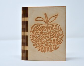 Laser Cut and Engraved Notebook - Teacher apple - NBC-005