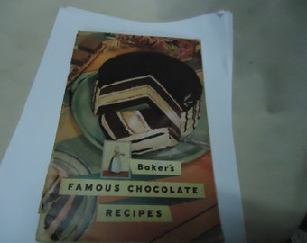 Vintage 1936 Baker's Famous Chocolate Recipes Book by General Foods, collectable