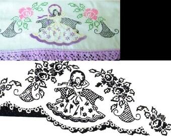 Southern Belle - Crinoline Lady pillowcase crochet & embroidery pattern LW209