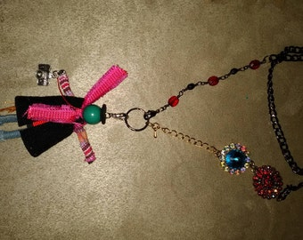 Necklace beads long bling camera mixed media