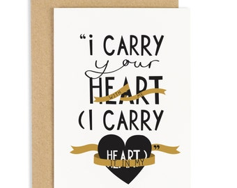 SALE: I carry Your Heart Card - Anniversary Card - Valentines Card - CC66