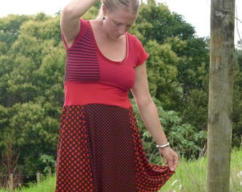 Flamenco Red and Black polka dot up cycled patchworked dress. Stretch Fit size M, one-off- one of a kind, Special dress