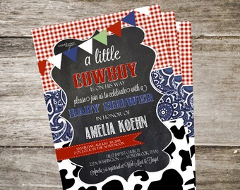Western Baby Shower Invitation. Cowboy Baby Shower. Cow Baby Shower Invitation. Customized 5x7 Printable Invitation DIY
