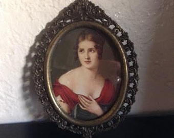 Small Vintage Picture of Lady in Red