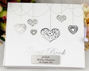 Personalised Baby Shower Guest Book - Hearts