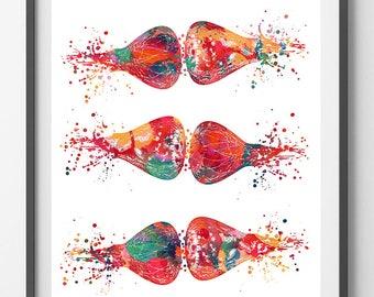 Brain Synapses Watercolor Print Human Brain Neurotransmitters Medical Art Brain Art Neurology Poster Neuronal Receptors Science Art Print