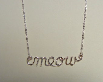 """Word necklace """"meow"""" in sterling silver"""