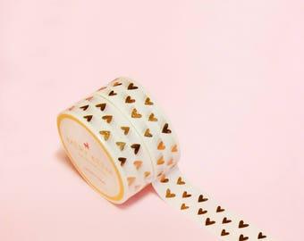 ROSE GOLD HEART Washi Tape | Masking Tape | Korean Washi Tape | Vintage Flower | Deco Tape | Scrapbooking | Japanese Tape | Paper Tape | Diy
