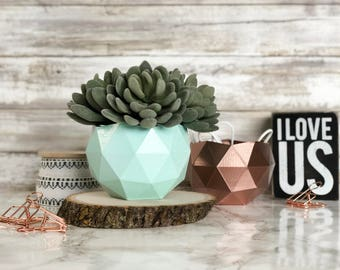 Geometric Planter or Desk Organizer Wide   Perfect for Office Decor and Desk   Great Gift   Modern Home   Lightweight   Sturdy   Storage