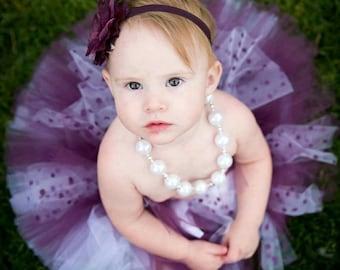 Tutu Polka dot plum tutu skirt with headband, birthday girl, flower girl, newborn tutu skirt, first birthday tutu, pageant tutu, pageants