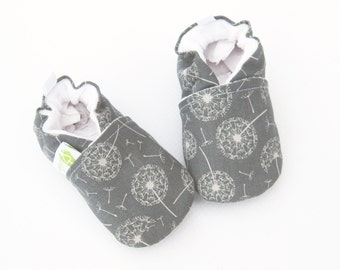 Classic Vegan Wish Flower / All Fabric Soft Sole Baby Shoes / Made to Order / Babies Dandelion Grey