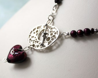 Garnet Heart Statement Necklace  Freshwater Pearl Heart Necklace  Burgundy Pearl Necklace  Lampwork Heart Necklace