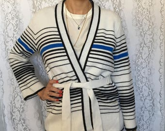 Vintage 70's striped sweater/St.Michaels tie in front sweater/retro 70's sweater