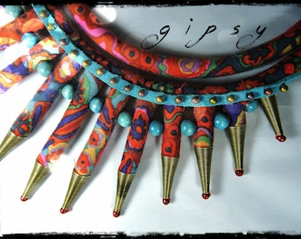 GIPSY wood necklace multicolor fabric with dominant red, purple, Garnet and teal - blue leather - metallic beads and wood