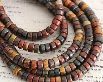2x4mm Red Creek Jasper Wheels - 4mm Wheel Beads For Jewelry Making - Jewelry Supplies - Disk - Choose Amount