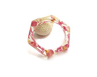 Pink resin bangle  Resin flower bracelet Pressed flowers Real flowers Real pink mums Flower wedding design  Modern jewelry Resin jewellery