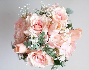Pink Bouquet, Pink Rose Bouquet, Peach Bouquet Bouquet, Pink Peach Bouquet, Wedding Bouquet, Silk Flower Bouquet, Bridal Bouquet