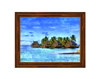Island Resort, water color, Downloadable print, tree, coconut, painting, vacation wall photo, home decor, island, resort, Instant download